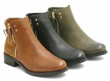 NEW LADIES WOMENS ANKLE BOOTS LOW HEEL PIXIE GOLD ZIP RIDING BOOTIES SIZE 3-8