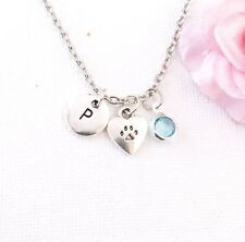 Paw Print Dog Cat Necklace Animal Rescue pet puppy doggy kitten
