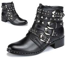 LADIES WOMENS BUCKLE STRAP LOW HEEL STUDS ZIP ARMY MILITARY ANKLE BOOTS SIZE