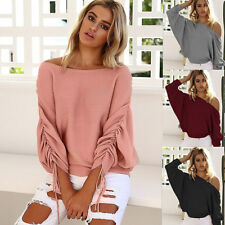 Sexy Womens Off Shoulder Long Sleeve Knitted Sweater Shirt Casual Loose Tops
