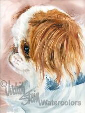 "Red & White Japanese Chin Art Print of Watercolor Painting ""Birdcage Dog"""