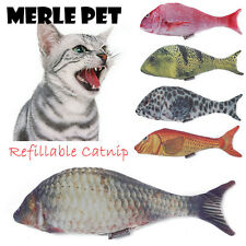 MERLE PET Cat Toy Simulation Plush Fish Refilling Catnip Interactive Chewing Toy
