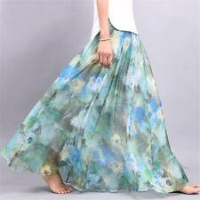 Boho Vintage Floral Print Pleated Chiffon Long Skirt Retro Women Dress
