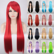Fashion Cosplay Hair Wig Women Long Straight Anime Costume Full Wig Red Hair