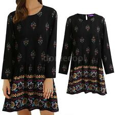 Vintage Women Plus Size Floral Dress Casual Loose Long Sleeve Boho Dress C3O3