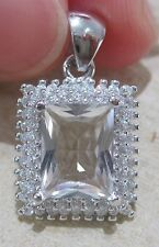 100% REAL STERLING SILVER Rectangle White Cz & Accents Pendant - 925 STAMPED