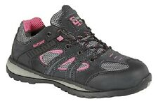 New Grey/Pink Real Suede Ladies Safety Trainer Shoes Flexi Comfort Safety Toe