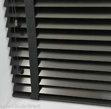 PREMIUM MADE TO MEASURE BLACK WOODEN VENETIAN BLIND WITH TAPES REAL WOOD