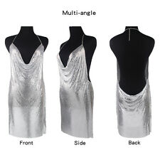 New Women Fashion Gold Chainmaille Dress Sexy Party Deep V Neck Plunge Hot Sale