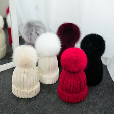 Women Hat Winter Autumn Warm Knit Beanie Cap Girl S Cute Hats With Fur Pompom