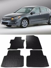 4 Pcs Black/Beige OE Cut All Season Rubber Floor Mat For 08-12 Honda Accord 4D