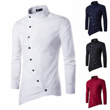 Men's Fashion Slim Long Sleeve Solid Dress Shirts Oblique Placket Casual Shirt