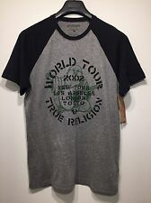 TRUE RELIGION Men's Buddha World Tour Graphic Gray Baseball T Shirt (MSRP $79)