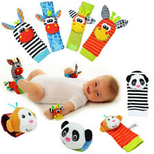 1Pair Baby Infant Soft Toy Wrist Rattles Foots finders Developmental Sozzy Socks