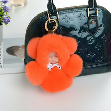 "5"" Sleeping Baby Rabbit Fur Plush Stuffed Doll Toy KeyChain Ring Bag Pendant Toy"