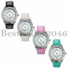 Fashion Womens Rhinestone Dial Leather Strap Ladies Quartz Analog Wrist Watch