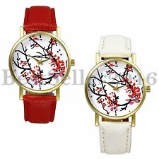 Classic Womens Ladies Ultra Thin Strap Plum Blossom Quartz Analog Wrist Watch