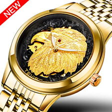 Mens Gents Automatic Mechanical Watch Skeleton Gold Analog Eagle Relief 3D Face