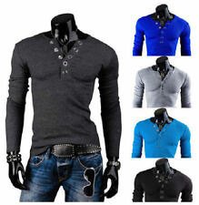Hot Fashion Mens Casual Slim Fit T-shirts V-Neck Long Sleeved Solid Color Tee bn