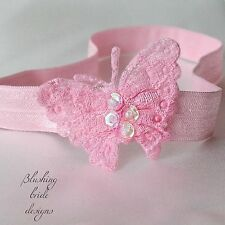 Beautiful Pink Sequin Butterfly Baby Headband