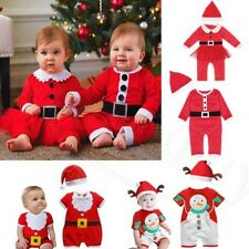 Baby Toddler Boys Girls Santa With Hat Christmas Outfit Romper Jumpsuit Xmas Set