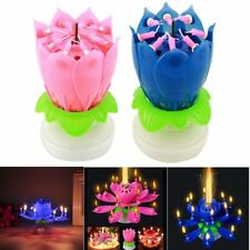 Magical Amazing Blossom Lotus Light Birthday Musical Rotating Flower Lamp Candle