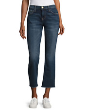 NWT Current Elliott The Kick Raw Hem Mid-Rise Flare Faded Crop Blue Jeans -Loved