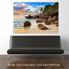Wall Art Canvas Print Picture Beautiful Tropical Beach at Sunset -Unframed