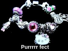 HELLO KITTY EASTER CHARM BRACELET Princess Pink Crystal Radiant Heart Cat