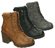 WOMENS LADIES MILITARY COMBAT ARMY LACE UP BLOCK HEEL GRIP SOLE ANKLE BOOTS SIZE