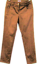 NEW Leisure Basic Chinos Ladies Textile Trousers Stretch Brown Straight Leg Size