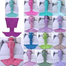 Mermaid Fish Tail Blanket Crocheted Soft Cotton Sleeping Bag Bed Sofa for Adults