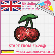 Sequin Cherry (Iron on) Fruit Embroidery Applique wholesale Patch Sew Iron Badge
