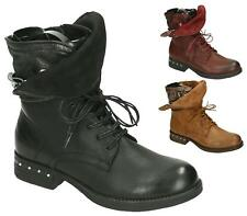 WOMENS NEW FAUX LEATHER COMBAT BUCKLE ZIP FUNKY LACE UP ANKLE BOOTS SIZE UK 3-8