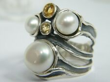 New SHABLOOL Ring Freshwater White Pearl Mix 925 Sterling Silver Jewelry
