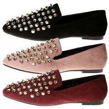 Abra Womens Low Heels Flat Diamante Gemmed Studded Loafers Ladies Shoes Size New