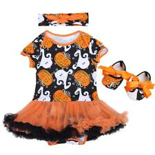 3PCS Baby Girls Princess Romper Dress Headband Shoes Halloween Outfits Clothes