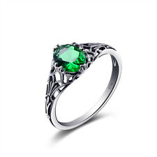 Genuine 925 Sterling Silver Ring Earing Pendant Artificial Green Stone for Women