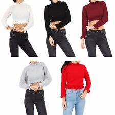 Ladies Women Cropped Knitted Top Ruffle Frill Hem Jumper Long Sleeve Tops 8-14