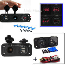 Waterproof Dual USB Charger Socket Power Voltmeter For Motorcycle Cars Boat GPS