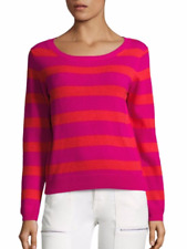 NWT Joie Cais Deck Striped Crew Neck Long Sleeve Cashmere Sweater Top – Hot Pink
