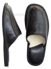 Black Mens Leather Slippers Lambswool Shoes Wool Sheepskin US size 8 9 10 11 12