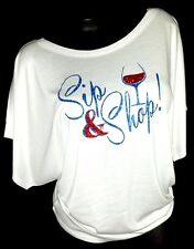 Sip & Shop White Flowy Draped Sleeve Dolman Tee ~ Shiny Blue Lettering!!!