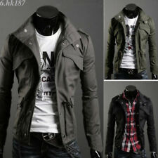 New Style Mens Zip Button Military Slim Fit Collar Jacket Hooded Coat Outwear SH