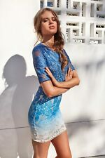 New women's Perfect Illusion Ombre Lace Dress (Blue)
