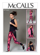 McCALLS Sewing Pattern 7663 Activewear Jacket Crossover-Back Tops Leggings NEW
