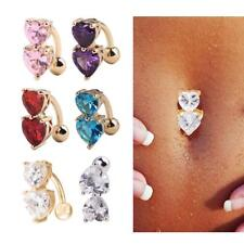 Reverse 2 CZ Gem Heart 14G Belly Navel Ring Body Jewelry Wholesale
