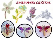SWAROVSKI CRYSTAL Brooch Broach LAPEL Pin FINE JEWELRY FLOWERS INSECTS