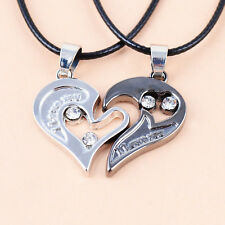 Couples Heart Stainless Steel Pendant Love Necklace Jewelry 2pcs Mens Womens