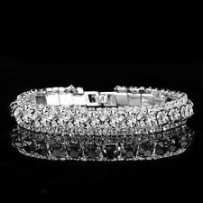 Silver Plated Crystal Rhinestone Womens Bracelet Bangle Wedding Jewelry Bridal